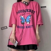 short sleeved kawaii t shirt women tshirt summer style retro harajuku style butterfly print loose student shirt punk clothes