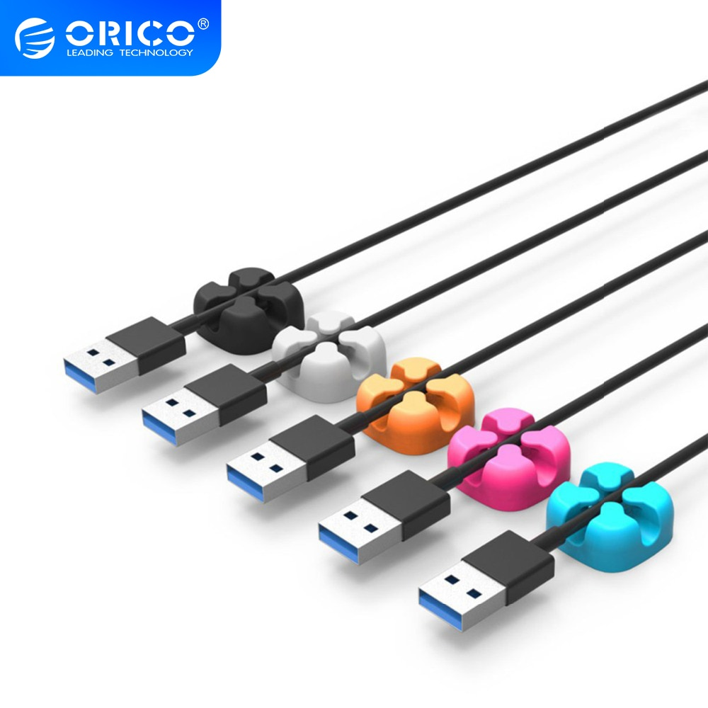 Organizador de Cables ORICO CBSX, Clips de escritorio, gestión de cables, soporte de cables de auriculares para iPhone, línea de datos de carga