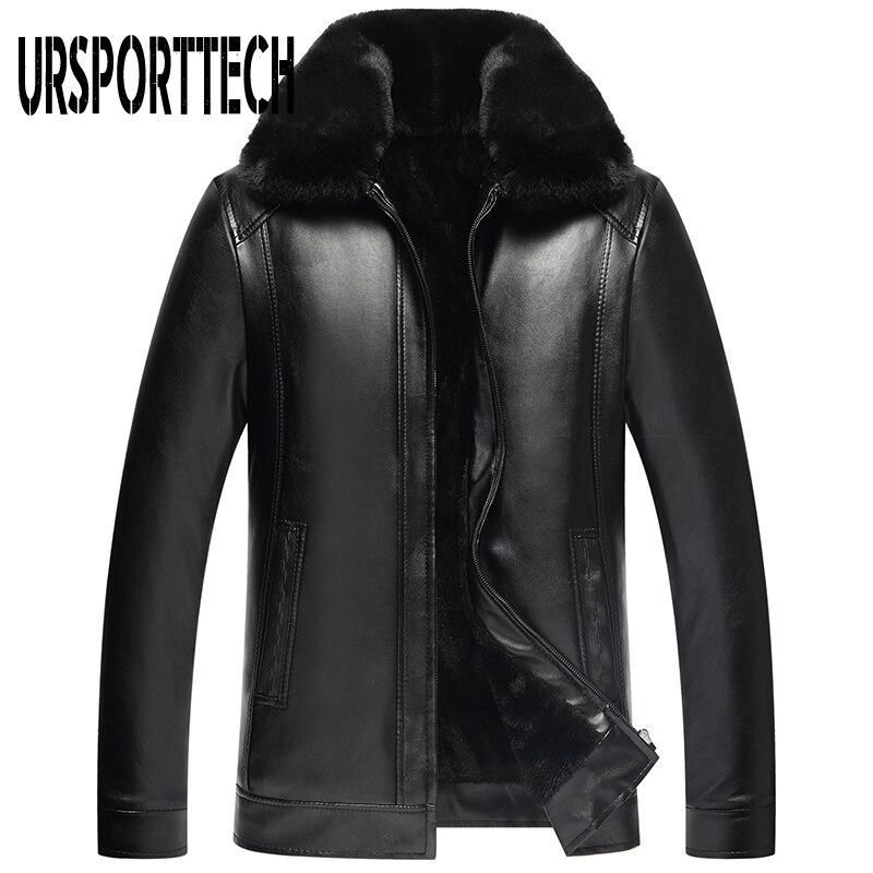 2019 neue Mode männer PU Leder Jacke Herren Marke Kleidung Thermische Oberbekleidung Winter Pelz Männlichen Plus Samt Jacke Plus größe 4XL