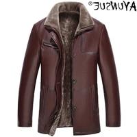 affanrue leather authentic mens jacket warm sheepskin coat large wool coat 5xl 6xl 16699