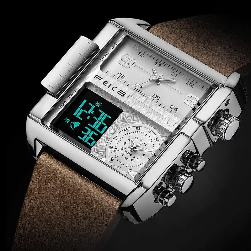 FEICE ساعة كوارتز مربعة للرجال ساعة موضة متعددة الوظائف ساعة يد رياضية للرجال مزودة بـ 3 بطلب فرعي FK030