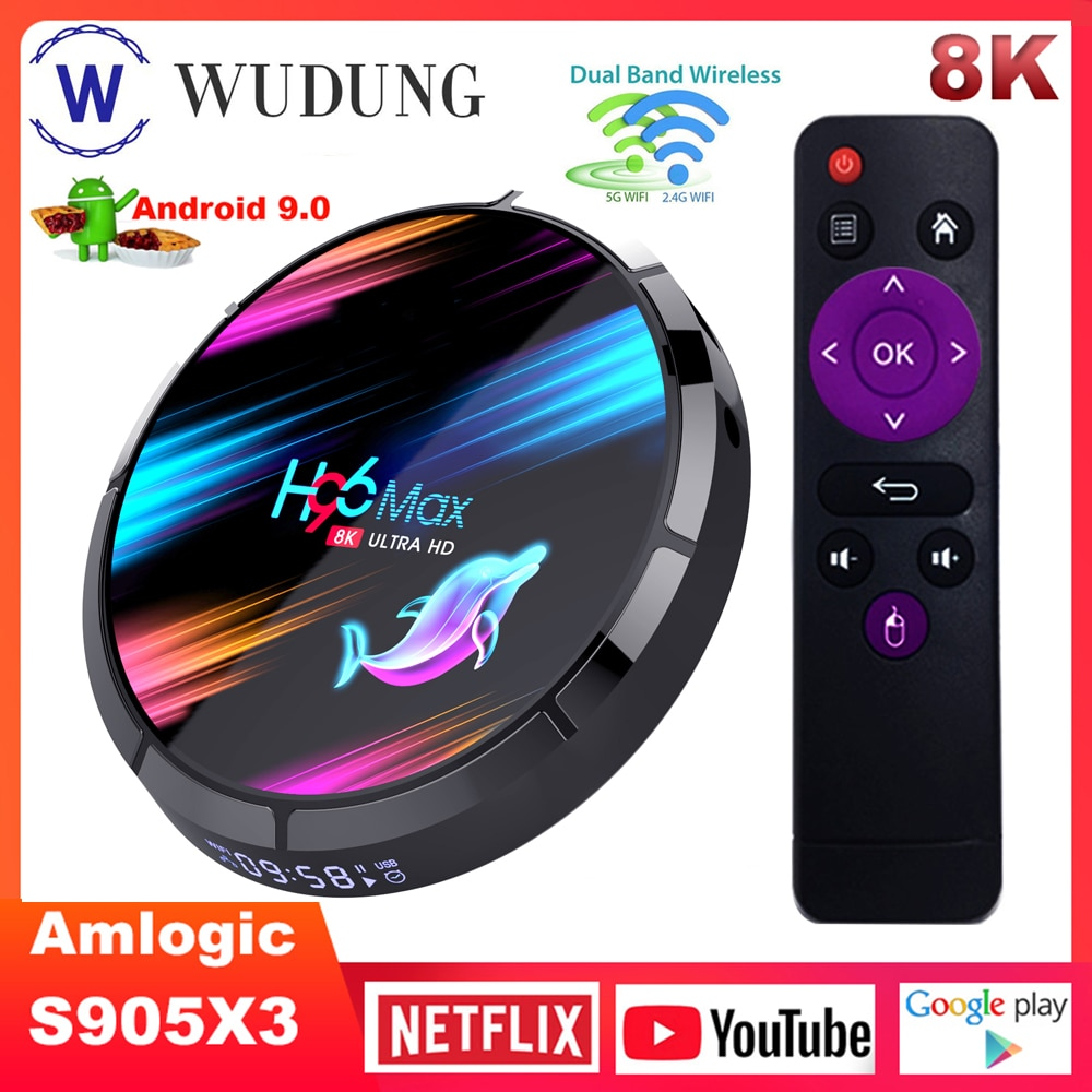 H96 MAX X3 4 S905X3 Caixa Smart TV Amlogic Android 9.0G 128G 2.4G & BT4.0 5G Dupla Wi-fi 1000M 8K Media Player Set top Box H96 MAX