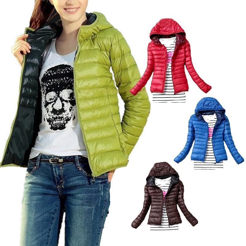 Chaqueta delgada de talla grande ultraligera para mujer 2019 otoño invierno abrigo corto con capucha para mujer