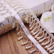 Frange de pompons en soie blanche 1Yards/Lot   Perlée, garniture de ruban en dentelle brodée, tissu dentelle couture, glands
