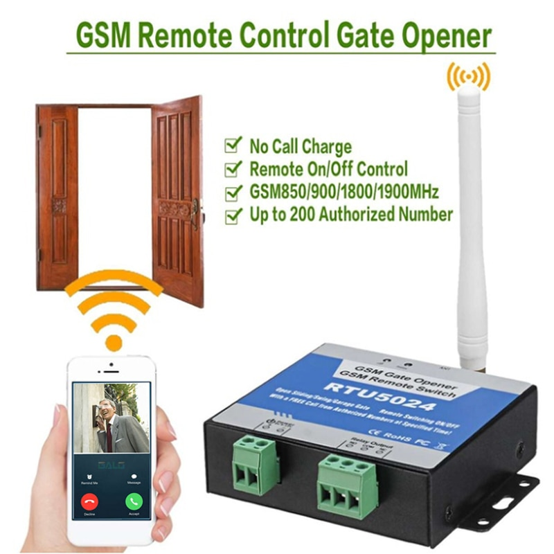 phone call controlled gsm 3g sms gate opener wireless switch water pump motor garage sliding swing door relay switch GSM Gate Opener Relay Switch Remote On/Off Switch Access Control Wireless Door Opener By Free Call SMS RTU5024 SIM card control