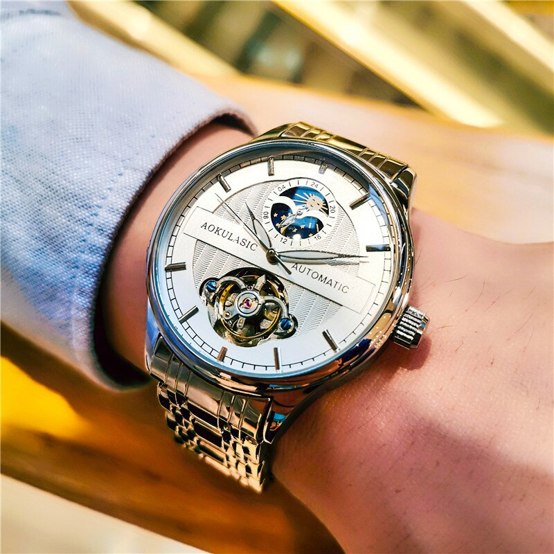 Tourbillon Men's Mechanical Watch Relojes Para Mujer Watch Hollow Fashion Business Luminous Waterproof Metal Strap enlarge