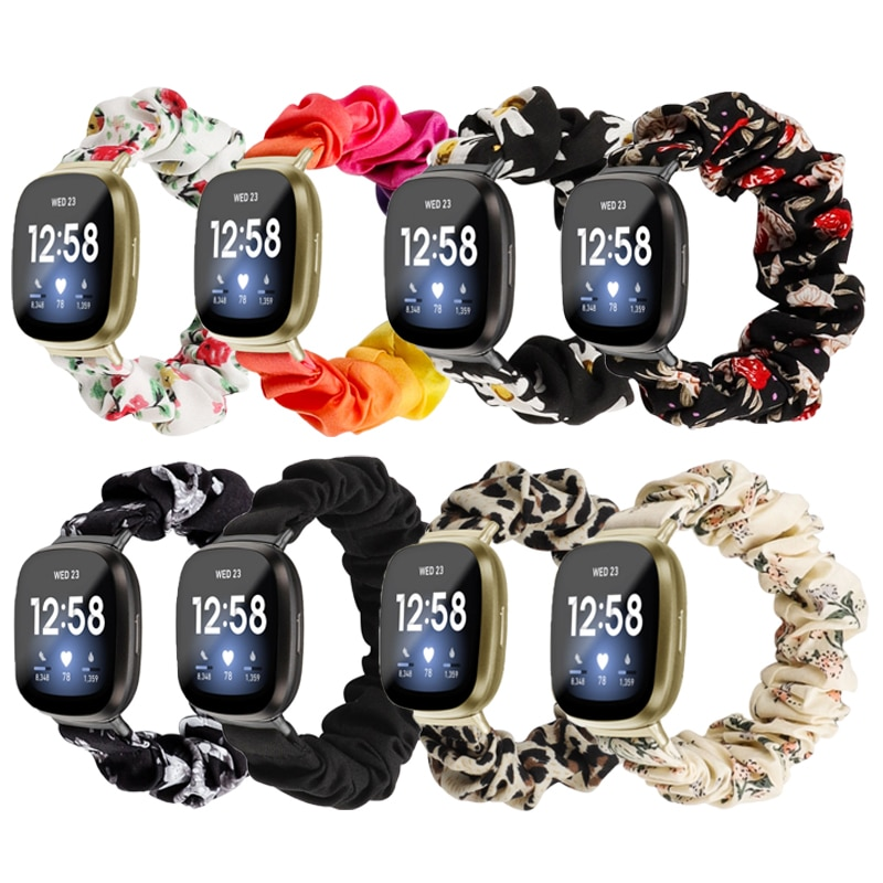 Elastic Fabric Band for Fitbit Versa 3 Women Girls Woven Strap Scrunchies Watch Band for Fitbit Vers