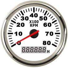 8K Boot Drehzahlmesser Marine Tacho Meter Gauge LCD Betriebsstundenzähler 12V/24V 8000 RPM 85mm Auto drehzahlmesser Toerenteller