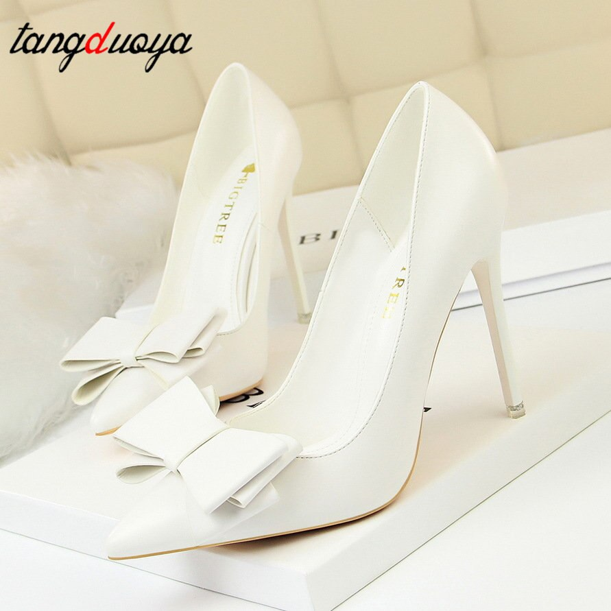 Otoño zapatos de tacón Rosa mujer azul dulce arco mujer blanco tacones altos zapatos de cuero mate tacón Delgado tacones altos de mujer