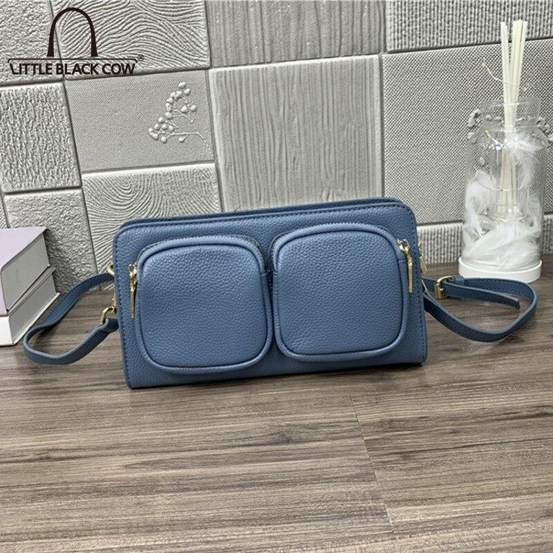 Moda do Vintage Mensageiro de Couro Real para Mulheres Bolsa Novo Elegante Zíper Ombro Crossbody Bolsas Azul Escritório Senhora Cinto Feminino