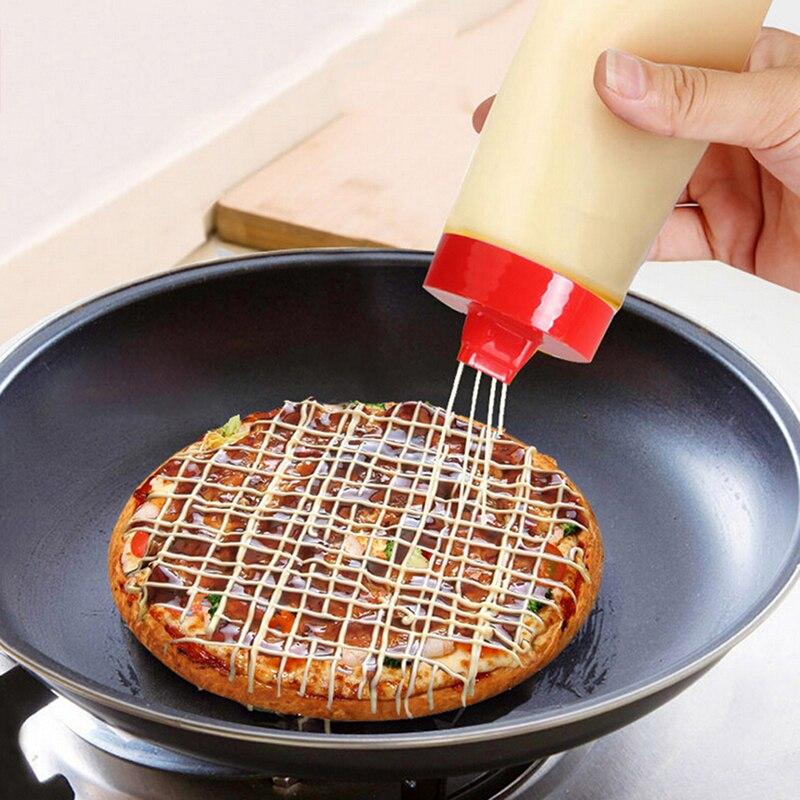 4-de plástico y agujero de kétchup ensalada mostaza accesorios de cocina aderezo botella de apretón botella de dispensador de condimentos