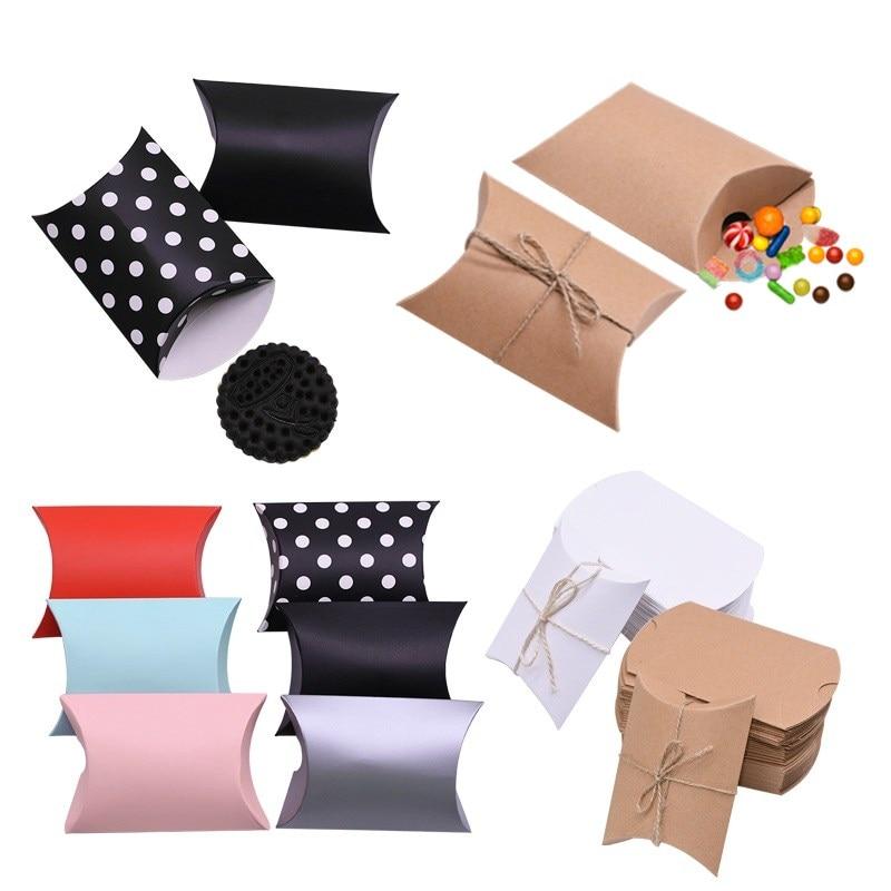 10/20/30/50 Uds. Cajas de papel Kraft para dulces, caja de regalo bonita de cartón para almohada, caja de regalo para cumpleaños, regalos de boda, Favor de empaquetar decoración de fiesta
