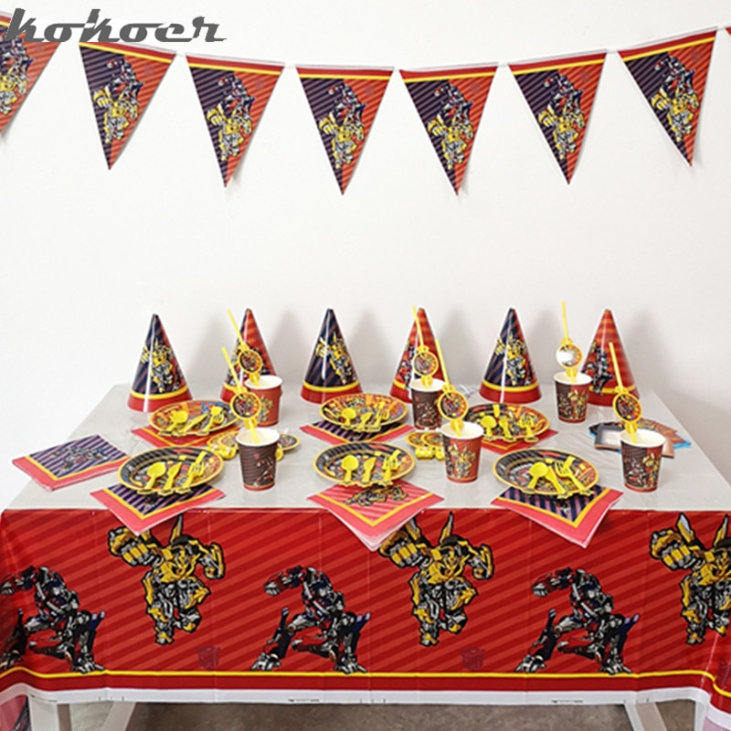Children Party Set Transformation Bumblebee Optimus Prime Boy Loves Disposable Tableware Birthday Party Decorations Supplies