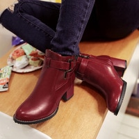 Women's High Heeled Shoes Soft PU Leather Round toe Square Heel Platform Autumn Winter Women Shoes Ankle Boots women boots jko9