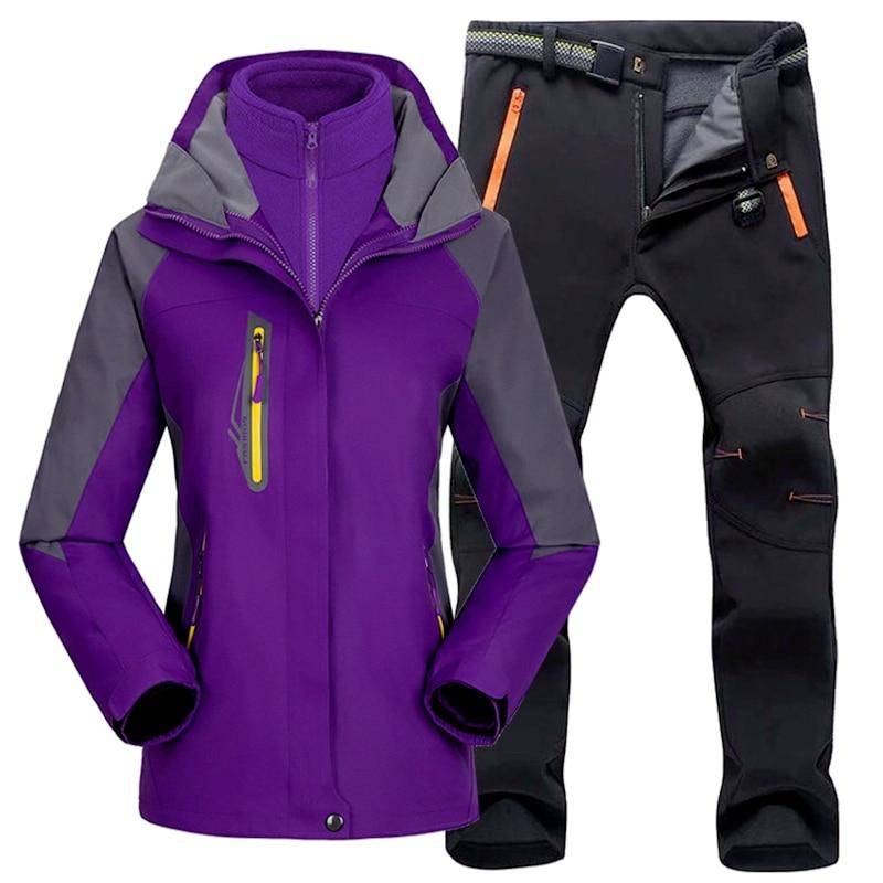 Женский лыжный костюм, уличная походная Лыжная водонепроницаемая куртка, флисовая зимняя теплая рыболовная походная лыжная куртка, компле...