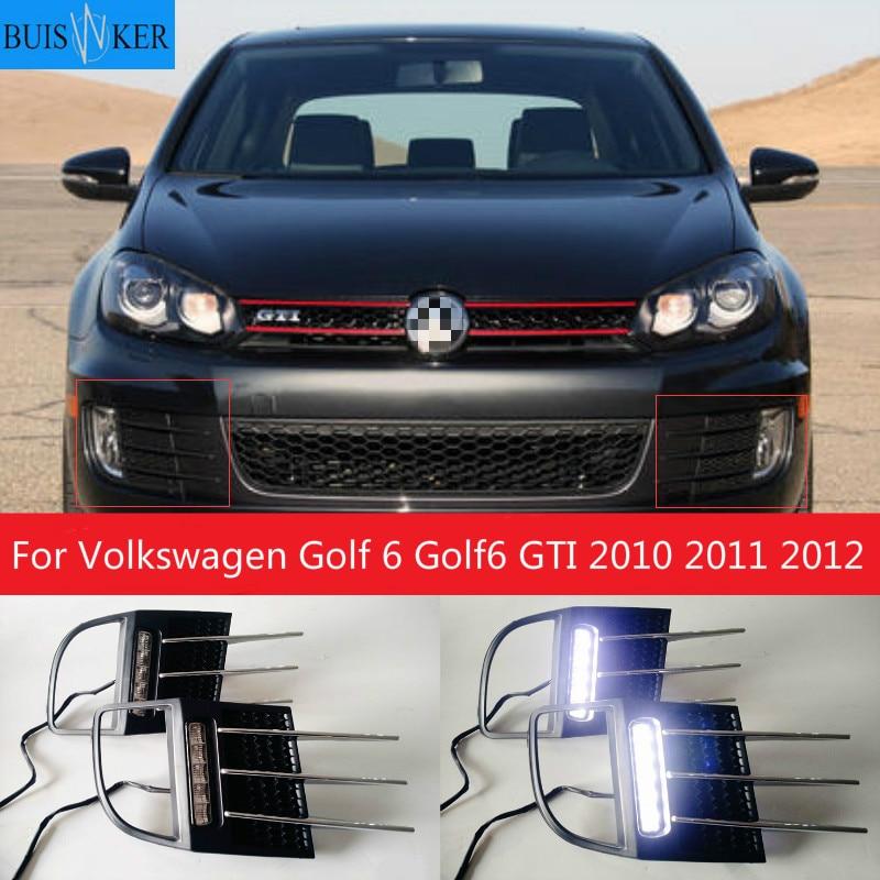 LED ضوء النهار تشغيل ضوء DRL الجبهة الضباب مصباح يوم ضوء ضبابي خفيف ل Volkswagen جولف 6 Golf6 GTI 2010 2011 2012 Auto