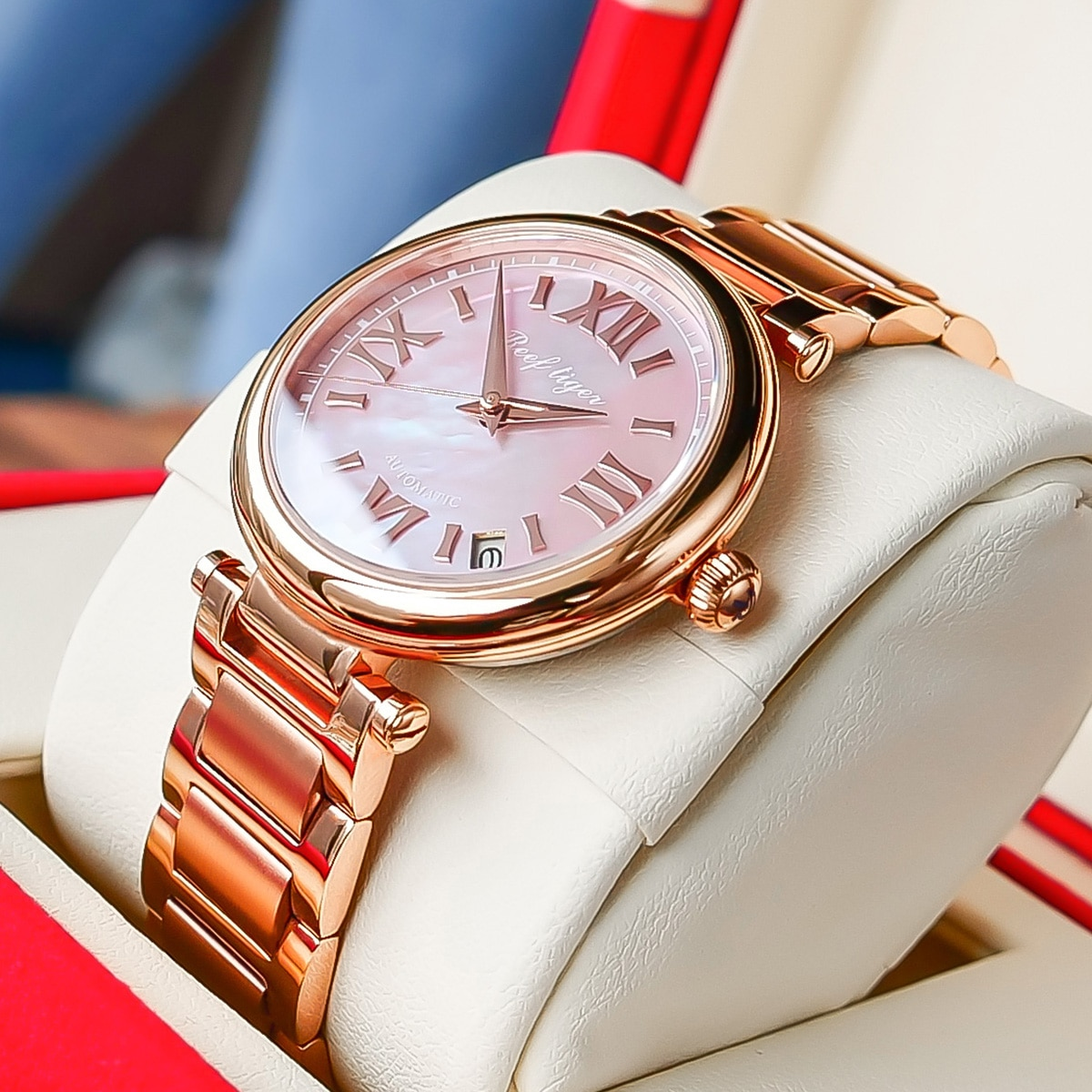 Reef Tiger/RT 2020 Top Brand Rose Gold Luxury Ladies Watch Sapphire Automatic Watch for Women Steel Bracelet Watches RGA1595 enlarge