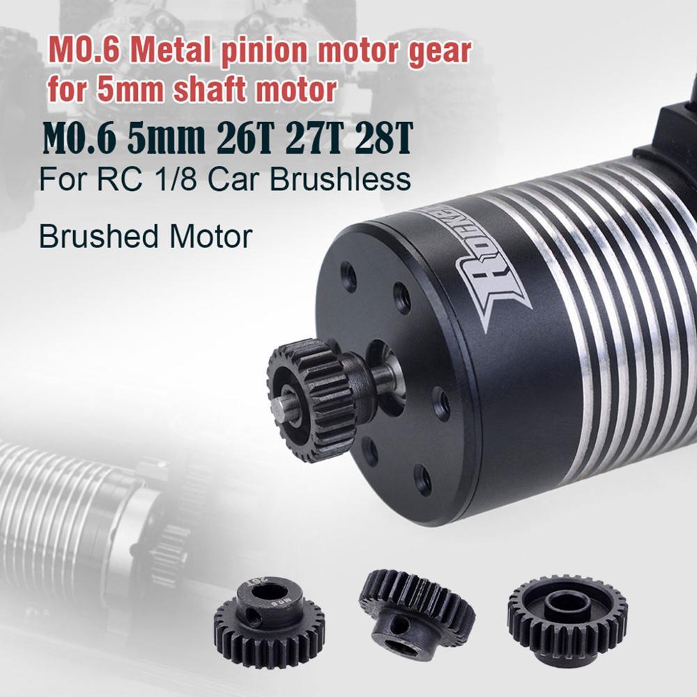 3 pçs/set M0.6 5 milímetros 26T 27T 28T de Metal Engrenagem Do Motor Pinhão para HPI HSP RC 1/8 Modelo de Carro Tamiya Axial Brushless Do Motor Escovado