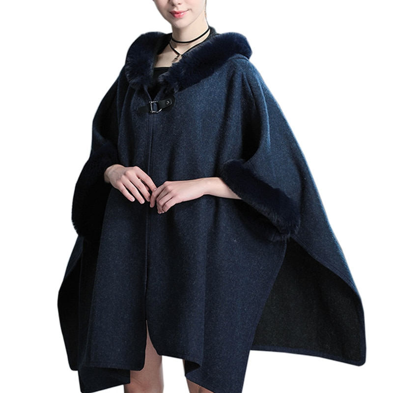 Women's Winter Stylish Wool Blend Poncho Coat Hooded Cape Shawl Fur Batwing Cardigan Cloak Ladies Loose Outwear with Buckle snap button hooded drop shoulder wool blend coat