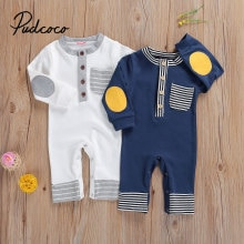 Newborn Baby Striped Romper with Pocket, Long Sleeve O-neck Jumpsuit for Infant, Toddler Kids Spring