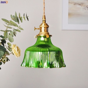 IWHD Nordic Green Glass Hanging Lamp Copper Switch Bedroom Bar Coffe Modern LED Pendant Light Fixtures Hanglamp Home Lighting