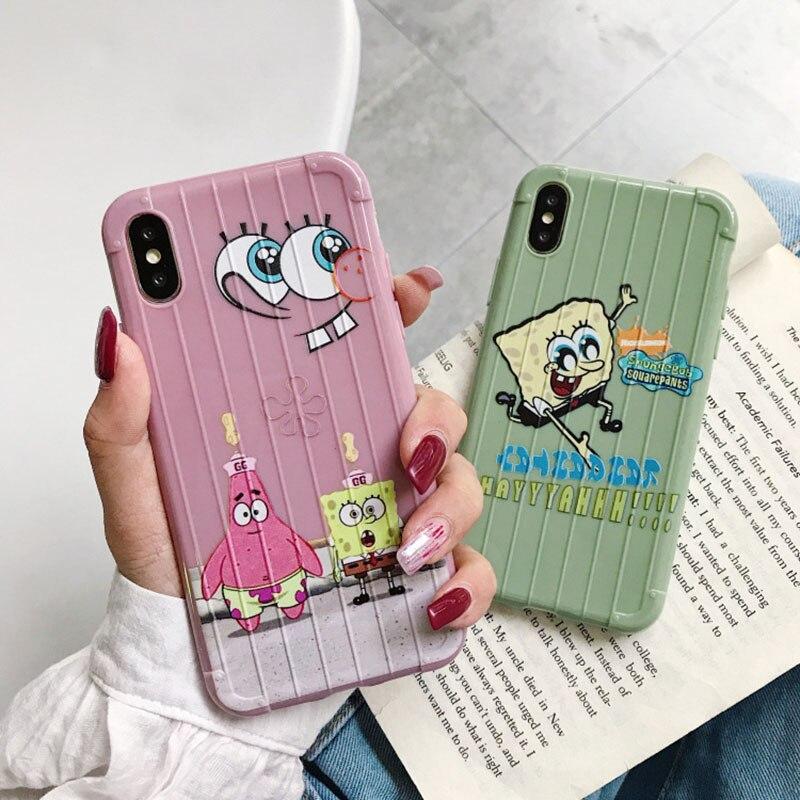 Funda de teléfono de Bob Esponja Piestar para iPhone 11 Pro X XR XS Max 8 Pluse 7 6 6S, funda bonita de dibujos animados, funda suave de TPU anticaída
