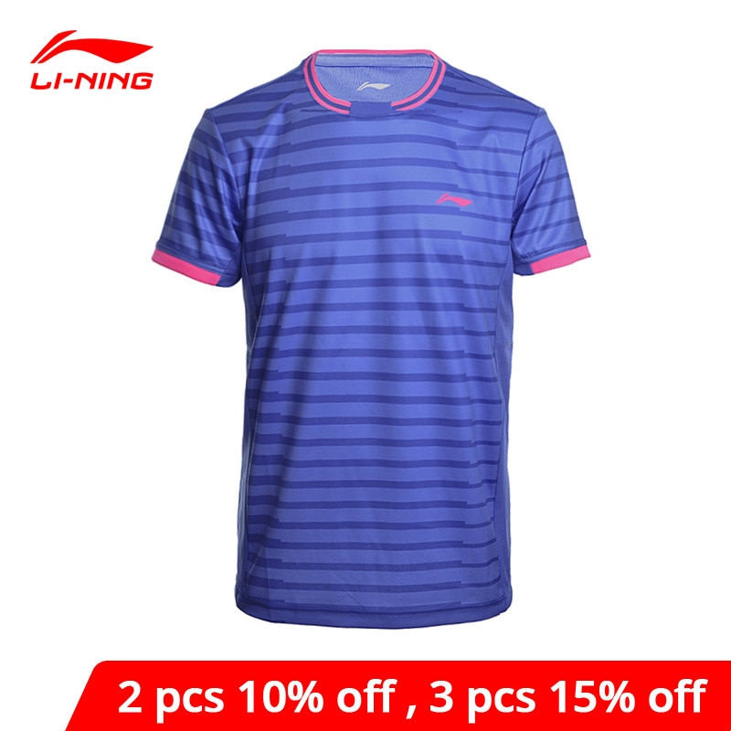 Li-ning camisas de bádminton para hombre en seco transpirable Regular forma física deporte camisetas forro Li Ning Tee AAYM143 MTS2646