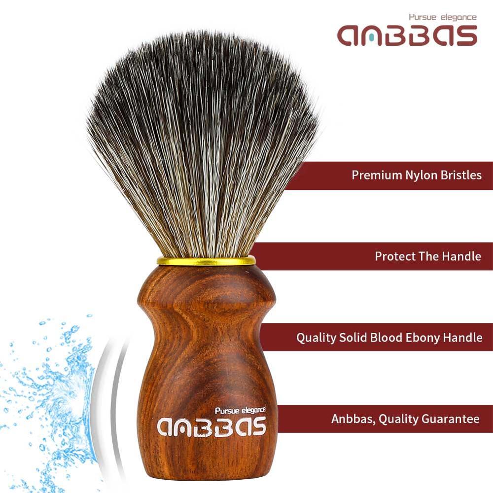 Synthetic Badger Hair Shaving Brush Rare Blood Ebony Wood Handle Foam Brush for Men Wet Shave Gift