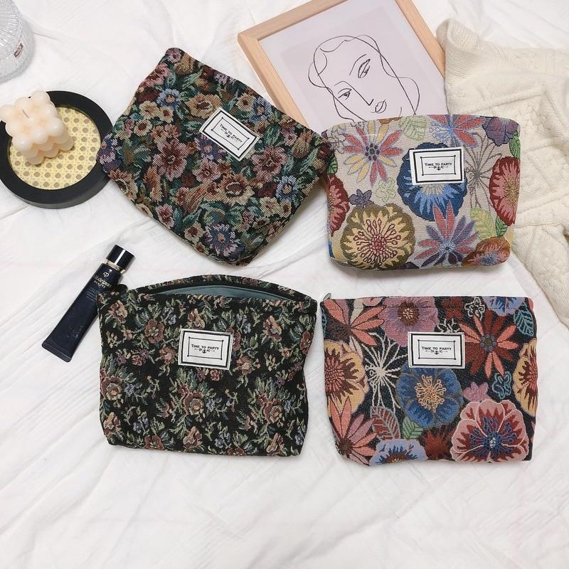 AliExpress - Flowers Jacquard Cloth Cosmetic Bag Women Makeup Handbag Art Style Thick Canvas High Capacity Zipper Bag