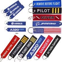 보잉 자수 여행 수하물 가방 태그 비행 승무원 항공 키 체인을위한 최고의 선물