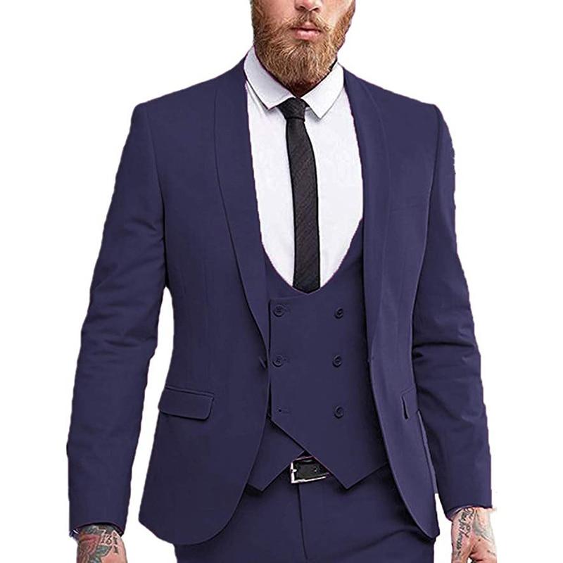سترة مزدوجة الصدر بدلة رجالي من 3 قطع بمقاس ضيق مناسبة للأعمال الرسمية مدببة عند الصدر بدلة رسمية لحفلات الزفاف (سترة + سترة + بنطلون)