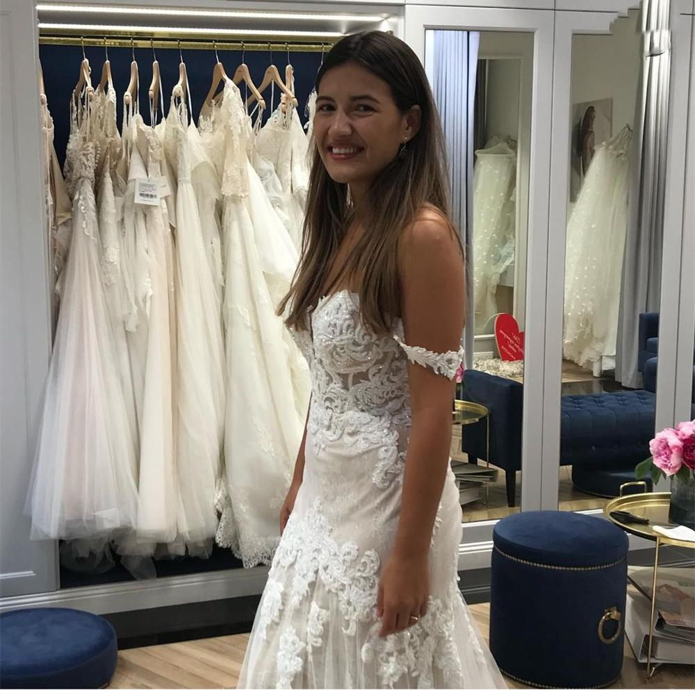 Gorgeous Wedding Dress A-Line Sweetheart Off The Shoulder Lace Appliques Beads Pearls Floor Length Sweep Train Bridal Gowns New