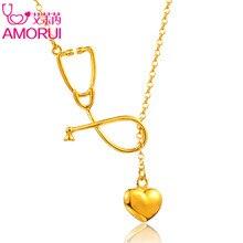 AMORUI стетоскоп женское ожерелье с кулоном в виде сердца женское модное медицинское ожерелье розовое золото серебряный цвет Женская модная цепочка Ювелирные изделия