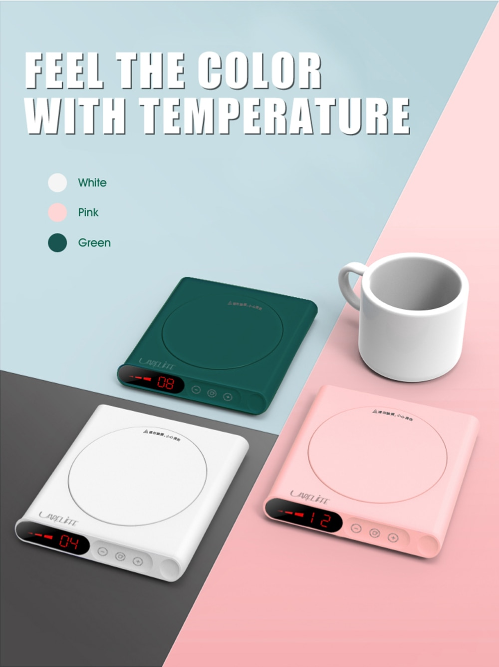 UARELIFFE Mini Heating Coasters USB Charging Warmer Heat Base 3 Levels Of Adjustment Constant Temperature For Smart Home Use