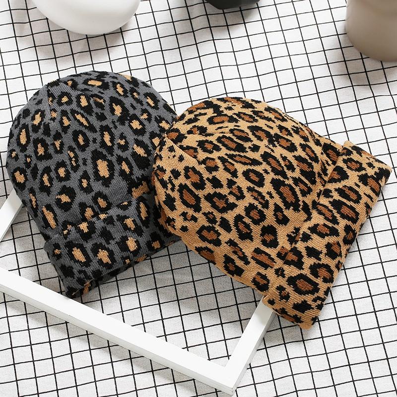 Женские леопардовые облегающие шапки, зимние шерстяные теплые вязаные шапки для женщин и девушек, шапочки с животными, плотные шапки