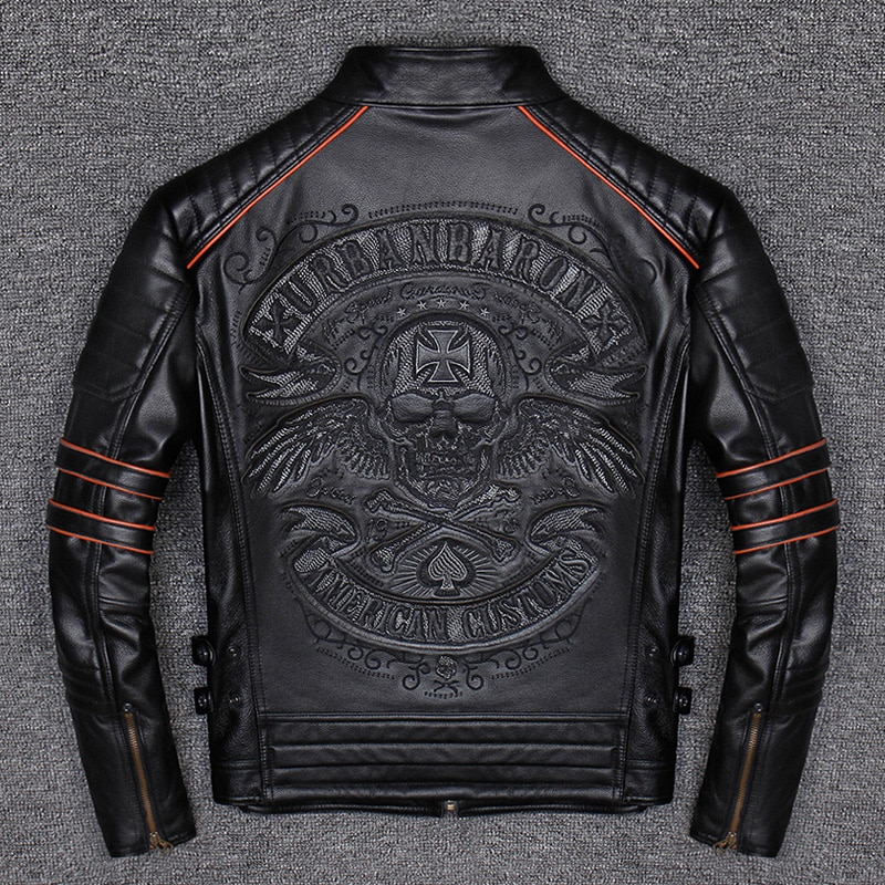 Spring Autumn Genuine Leather Jacket Men Embroidered Skull Casual Motorcycle Jacket Chaquetas Hombre Clothes Korean 2021 WPY2482