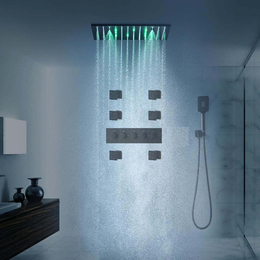 اكسسوارات الحمام مات الأسود تدليك المطر LED دش الاستحمام دش حمام رئيس صنبور مجموعة ترموستاتي خلاط الجسم الطائرات