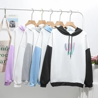 harajuku two hoodies color matching korean clothes women men long sleeve sweatshirt couple outfit casual fashion ins 2021 new