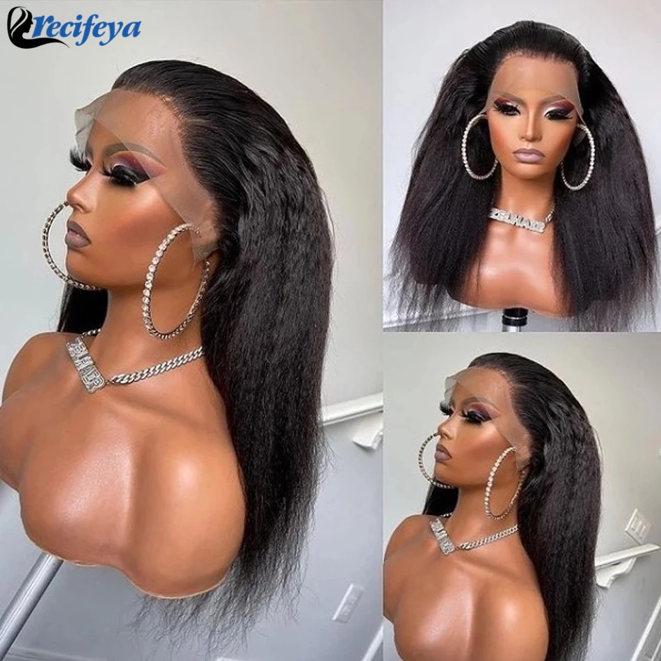 Peruvian Kinky Straight Lace Front Wig 100% Remy Human Hair Lace Wigs HD 5x5 Lace Closure Wig Yaki Straight Human Hair Wigs