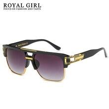 ROYAL GIRL TOP Quality Luxury Sunglasses Men Brand Vintage Oversize Square Sun Glasses Women Clear L