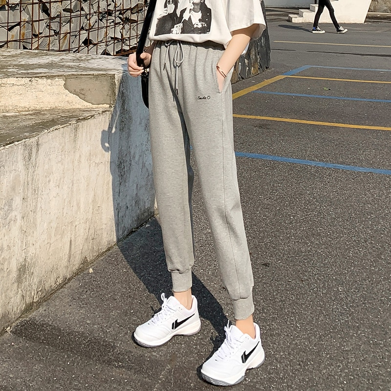Gray Leg Shaping Sports Pants Female 2021 New Spring and Autumn Thin Slimming Korean Style Sweatpant