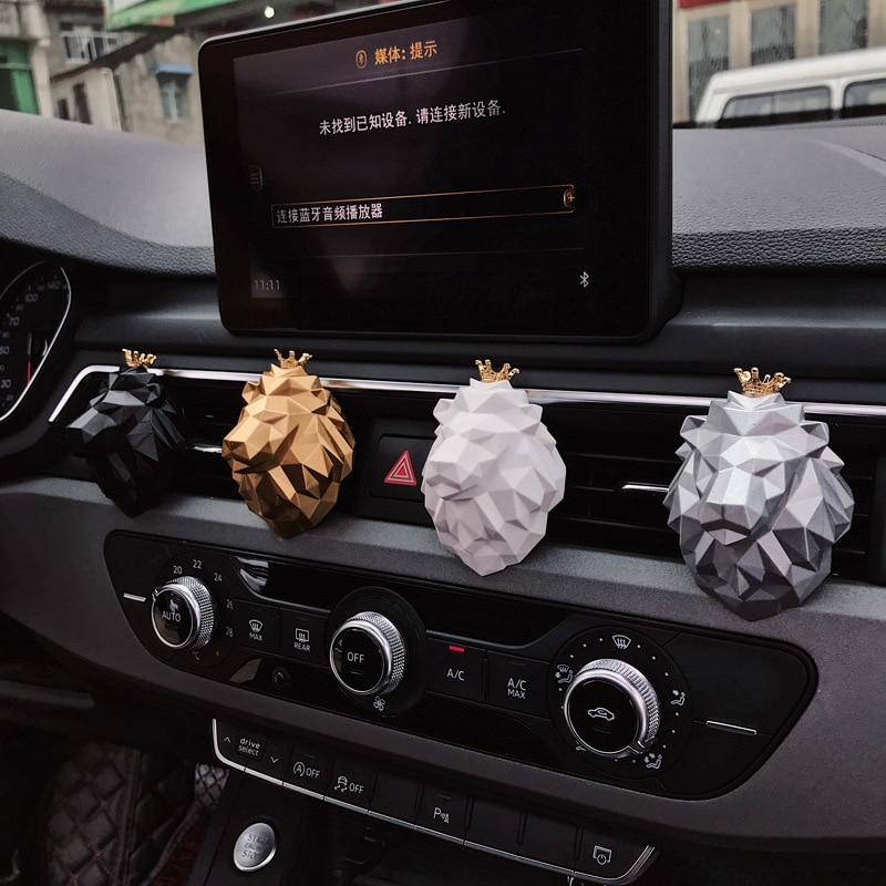 Creative Lion Head Shape Car Perfume Fragrance Cool Car Air Freshener Smell Car Diffuser Vent Clip Scent Refill For Car