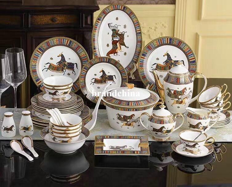 الأوروبي العظام الصين أدوات المائدة الشرقية الحصان السلطانية لوحة مزيج الحصان نمط ضوء فاخر بنوم بنه لوحة سيراميك