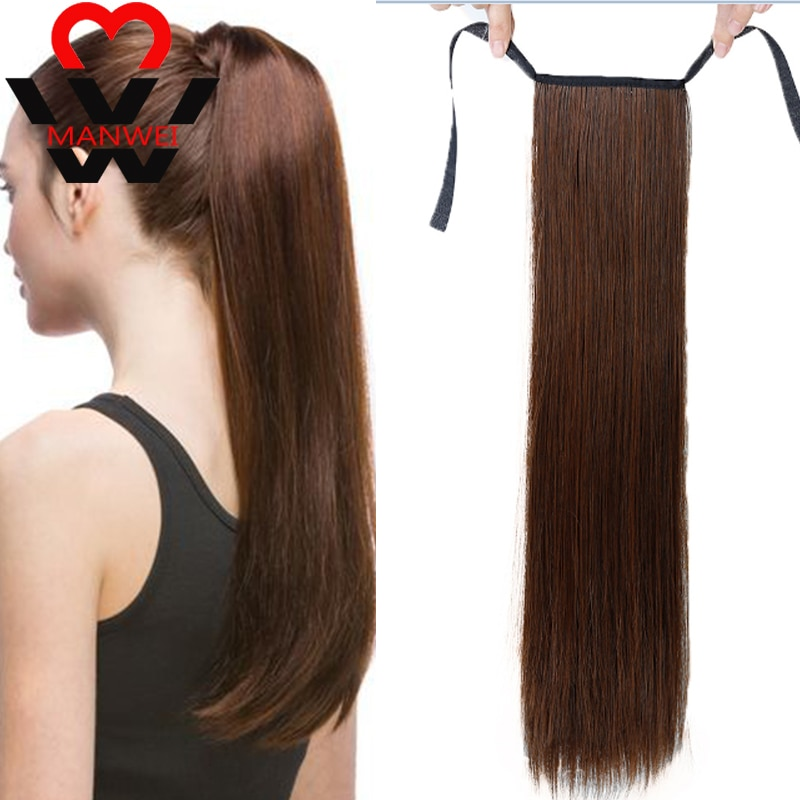 MANWEI piezas falsas de cabello 18-32 pulgadas Clip recto en la cola pelo falso Cola de Caballo peluca con horquillas pelo sintético cola de Pony Ext