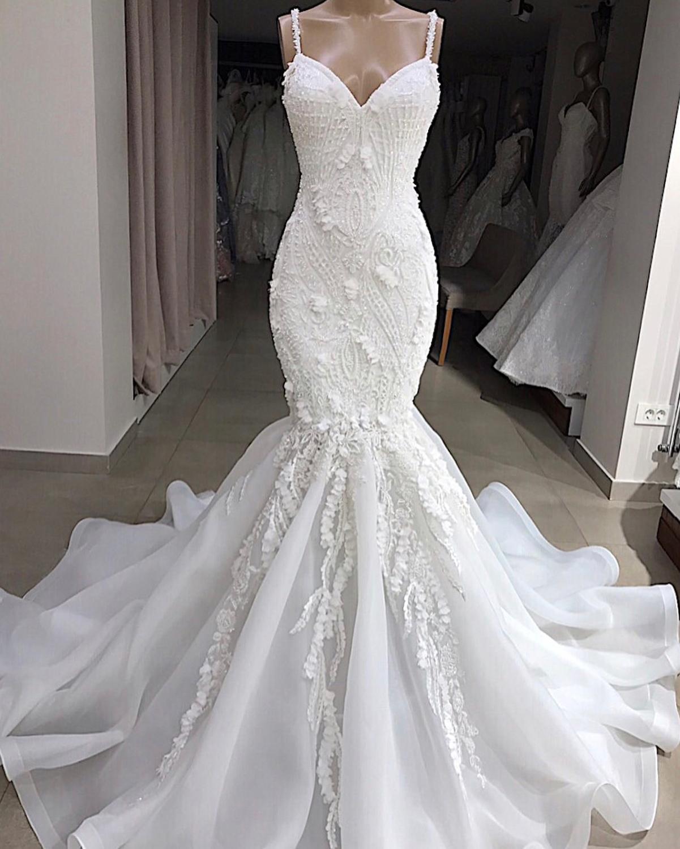 Vestido Sereia Sevy Spaghetti Correa sirena vestidos de boda 2019 rebordear Aplique de encaje sin espalda Vestido de novia