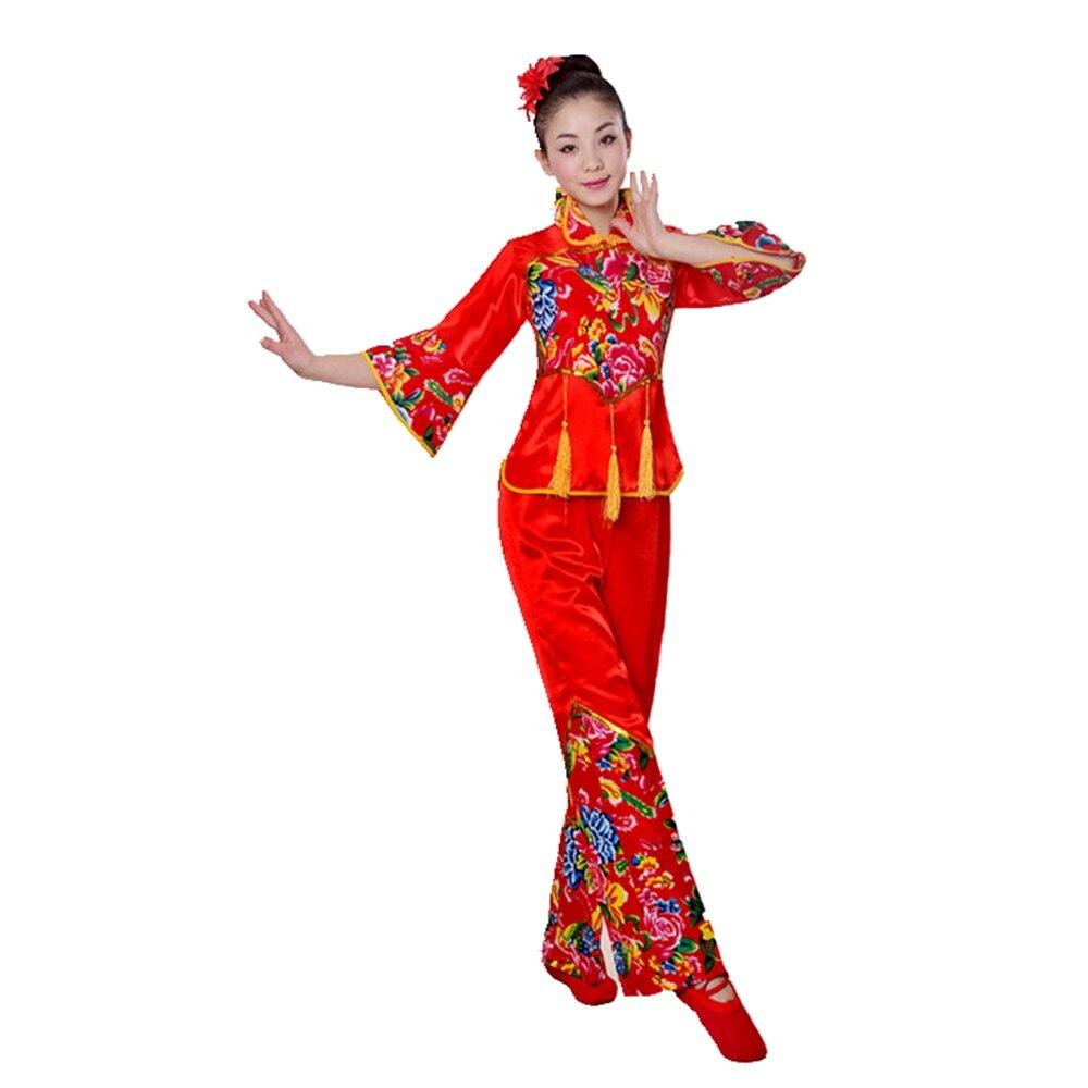 Китайский костюм народного танца, традиционная китайская одежда для женщин, одежда ханьфу