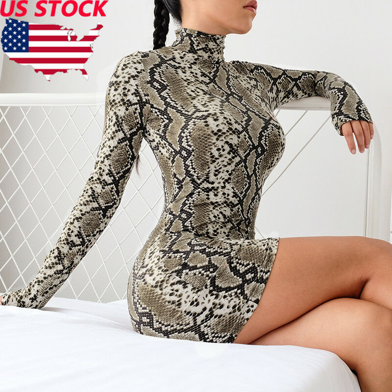 Vintage sexy Animal Snake skin print bodycon mini dress Turtleneck Long sleeve slim Fall party women street style vestidos 2020