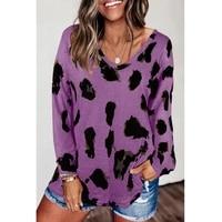 leopard print sweater women v neck pullover hoodies fall winter long sleeve streetwear kawaii loose sweatshirts tops ladies 2021
