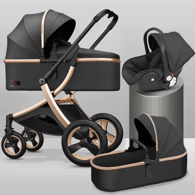 Luxury baby stroller 3 in 1,High landscape strollers,baby car,trolley pram,baby Carriage four wheels,newborn travel Pushchair