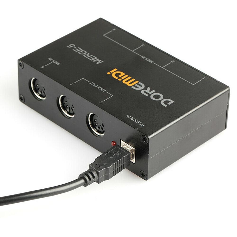 NEW DOREMiDi MERGE-5 Input MIDI Interface Box Power Converter Adapter Controller Guitar Parts & Accessories enlarge